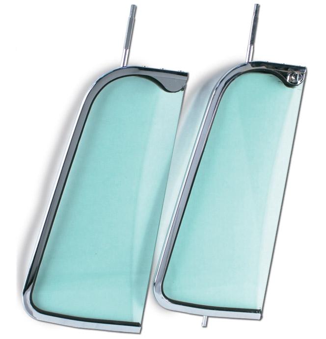 (1955-59)  Vent Window Frame - Chrome - w/ Tinted Glass - Pair