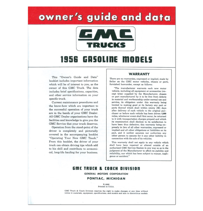 (1956)  Owners Manual - GMC