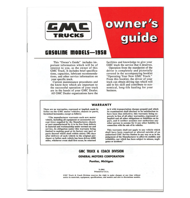 (1958)  Owners Manual - GMC