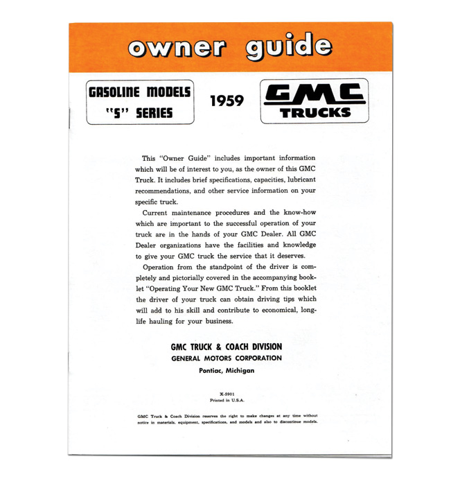 (1959)  Owners Manual - GMC