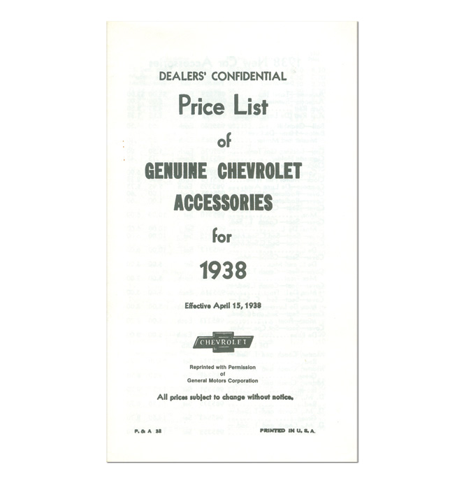 (1937)  Accessory List & Price Schedule