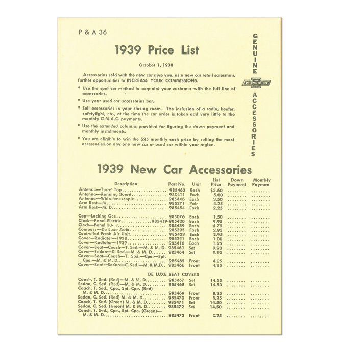 (1939)  Accessory List & Price Schedule