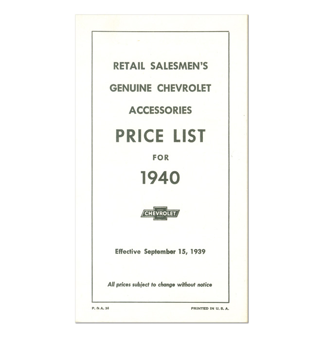 (1940)  Accessory List & Price Schedule