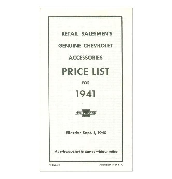 (1941)  Accessory List & Price Schedule
