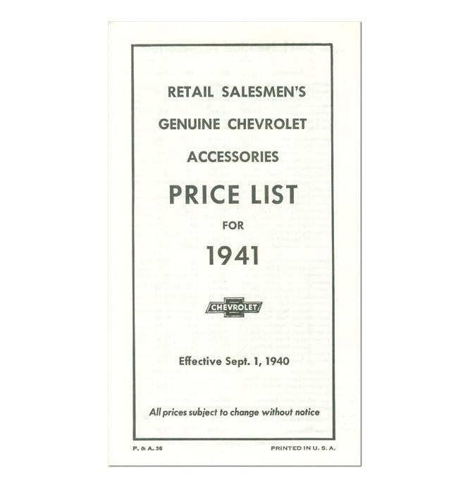 (1941)  Accessory List & Price Schedule