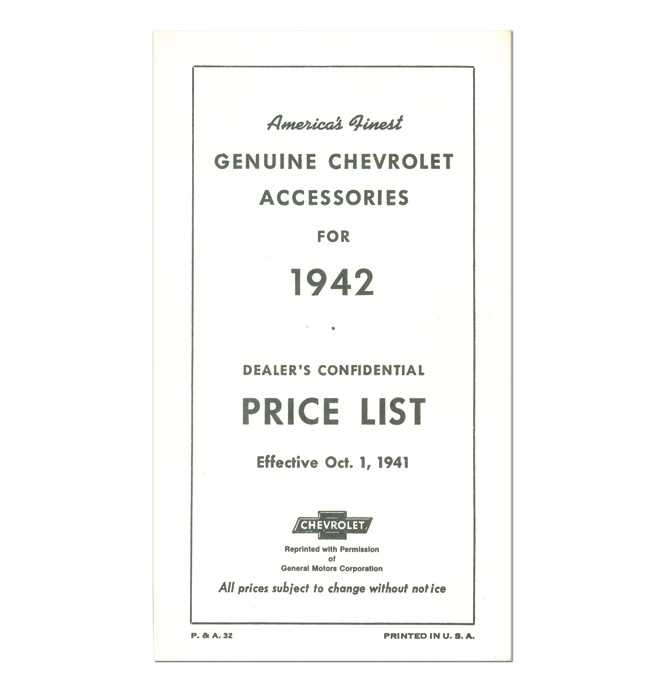 (1942)  Accessory List & Price Schedule