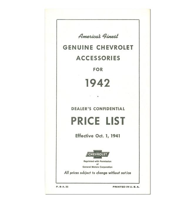 (1942)  Accessory List & Price Schedule
