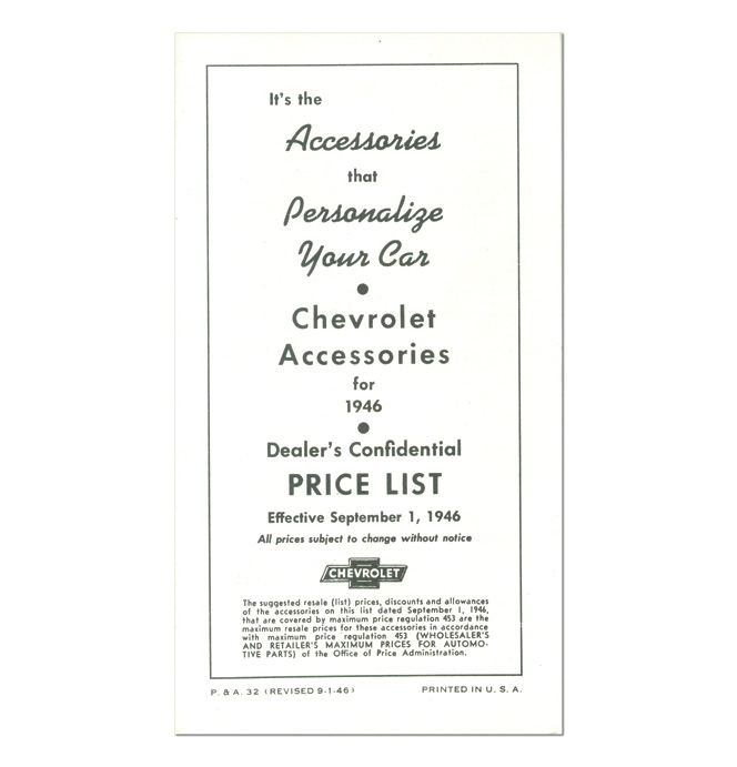 (1946)  Accessory List & Price Schedule