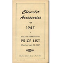 (1947)  Accessory List & Price Schedule