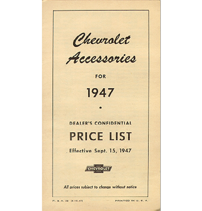 (1947)  Accessory List & Price Schedule