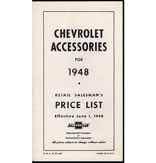 (1948)  Accessory List & Price Schedule