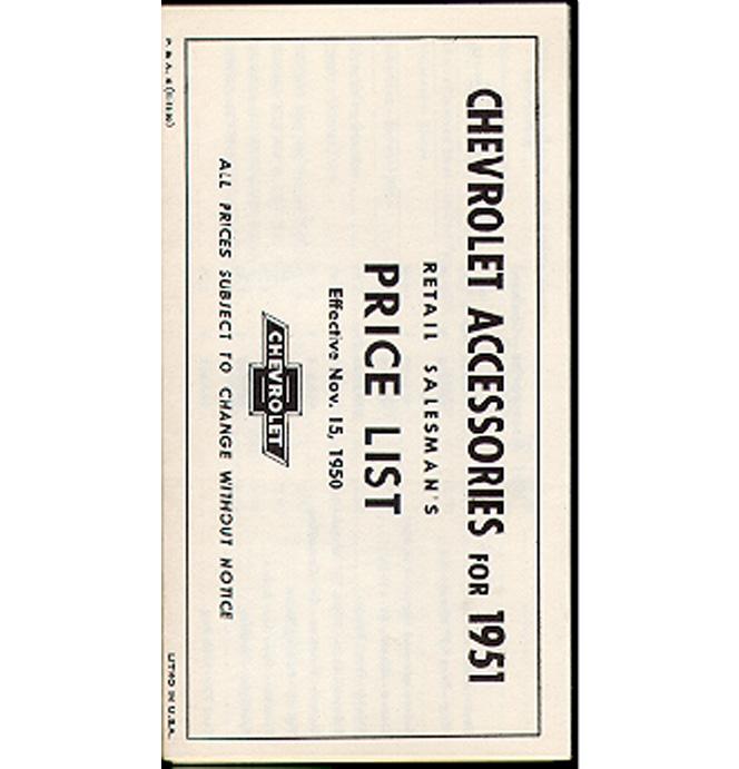 (1951)  Accessory List & Price Schedule
