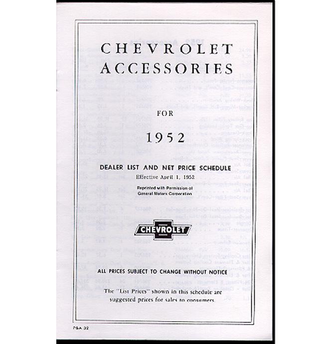 (1952)  Acccessory List & Price Schedule