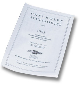 (1953)  Accessory List & Price Schedule