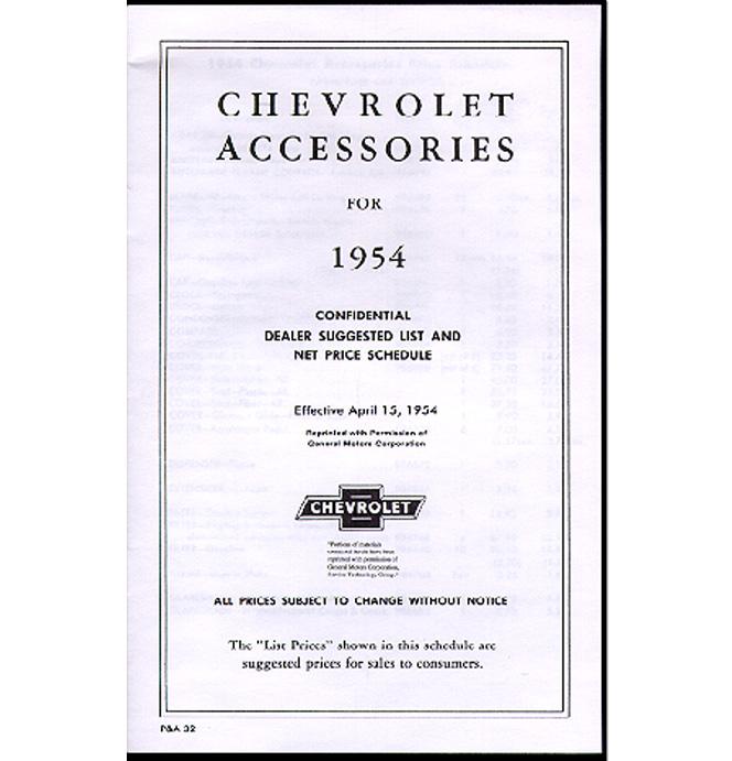 (1954)  Accessory List & Price Schedule