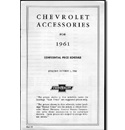 (1961)  Accessory List & Price Schedule