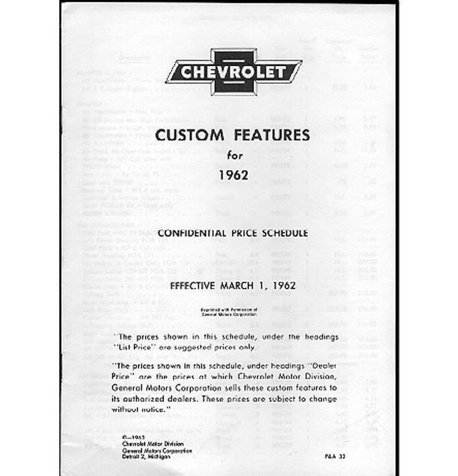 (1962)  Accessory List & Price Schedule