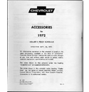 (1972)  Accessory List & Price Schedule