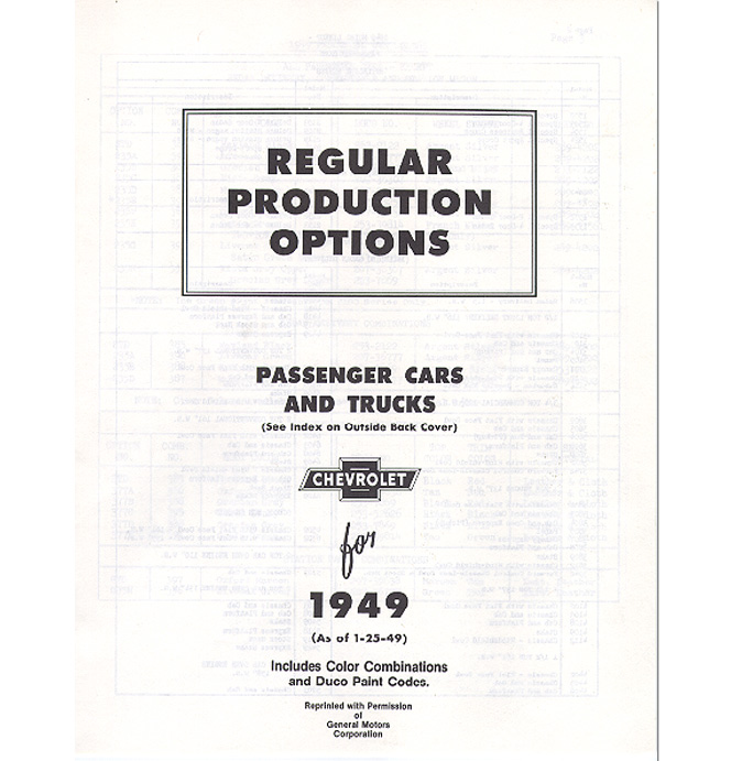 (1949)  RPO Booklet