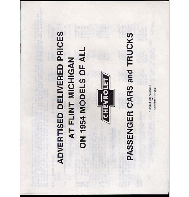 (1954)  Delivered Price Pamphlet