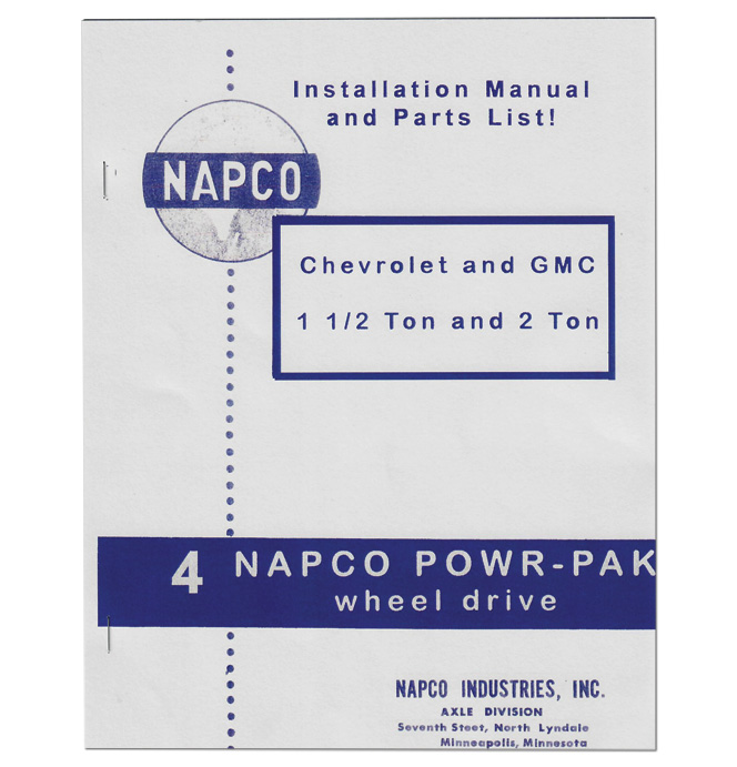 (1955-59)  NAPCO - Install & Parts Manual 1 1/2-2 Ton
