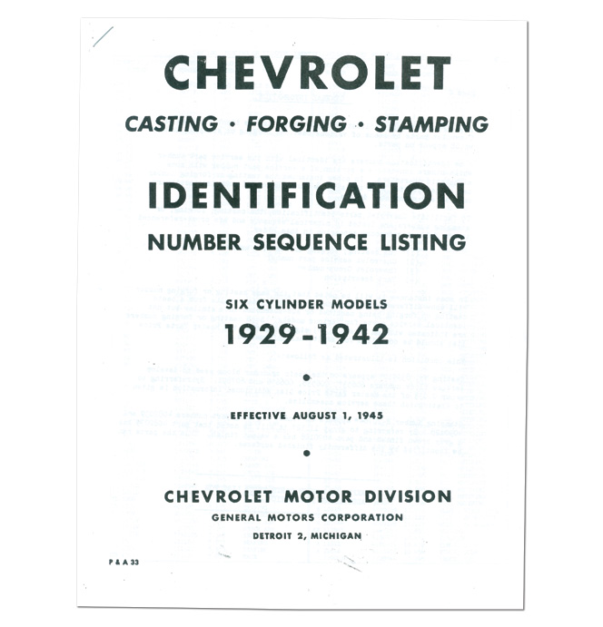 (1929-42)  Casting Number ID 6 Cyl.