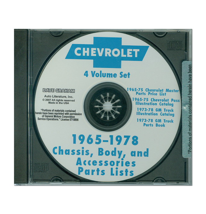 (1973-78)  Chevrolet Truck and Car Parts Book On CD