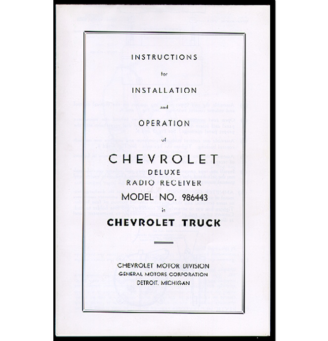 (1947-53)  Radio Installation Manual