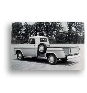 (1958)  Truck Photo - Longbed Pickup with Spare