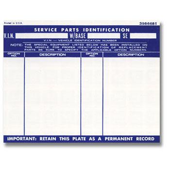 (1967-72)  Glove Box Door Option List Decal