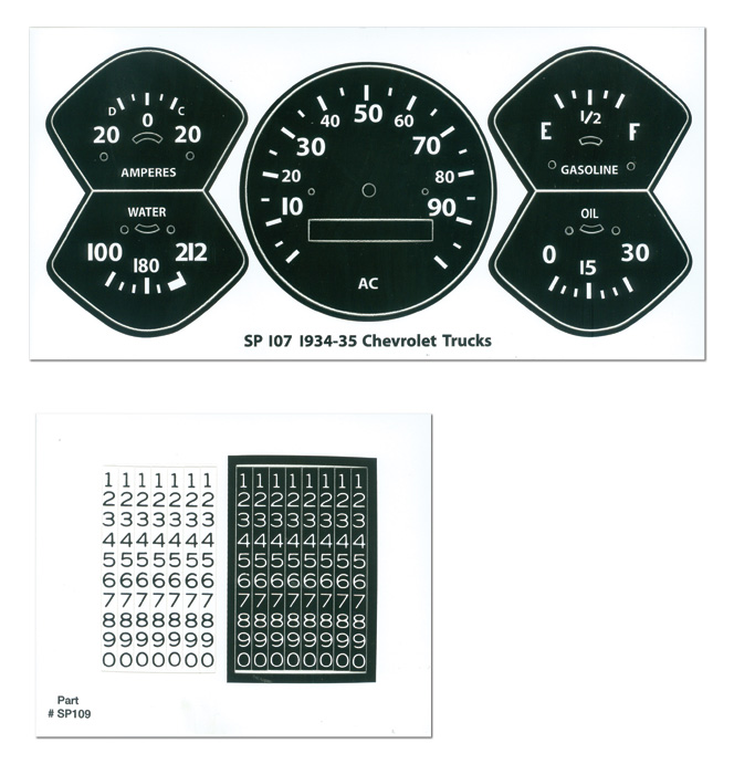 (1934-35)  Gauge Decal Kit - Chevy