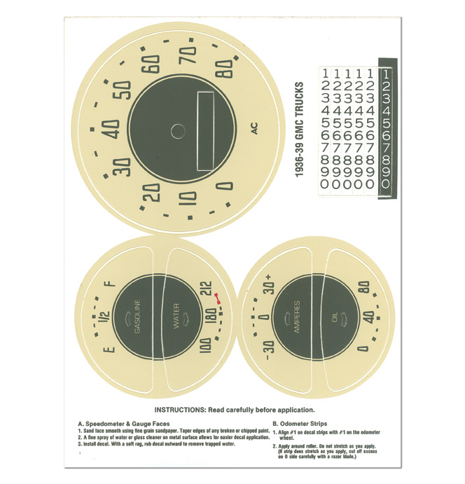 (1936-39)  Gauge Decal Kit - GMC