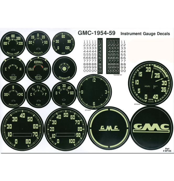 (1954-59)  Gauge Decal Kit - GMC