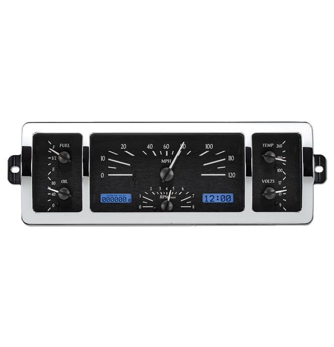 (1940-46) VHX Speedo & Gauge Kit - Black Alloy/Blue Display