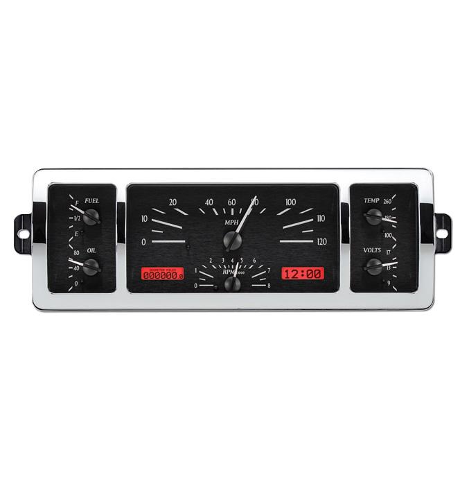 (1940-46) VHX Speedo & Gauge Kit - Black Alloy/Red Display