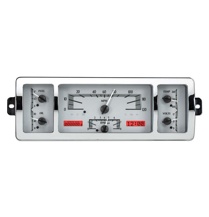 (1940-46) VHX Speedo & Gauge Kit - Silver Alloy/Red Display