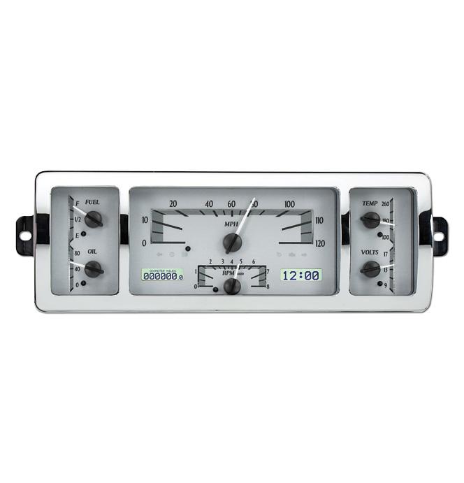(1940-46) VHX Speedo & Gauge Kit - Silver Alloy/White Display