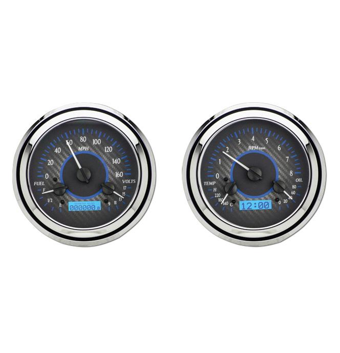 (1947-53) VHX Speedo & Gauge Kit - Carbon Fiber w/Blue Display
