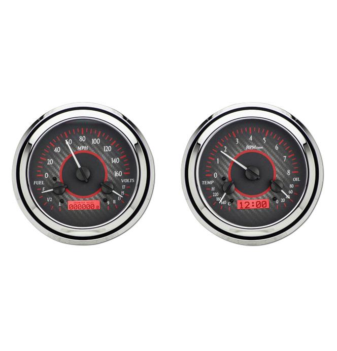 (1947-53) VHX Speedo & Gauge Kit - Carbon Fiber w/Red Display