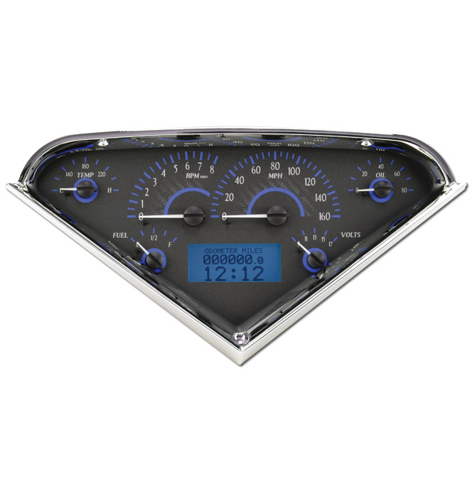 (1955-59) VHX Speedo & Gauge Kit - Carbon Fiber w/Blue Display