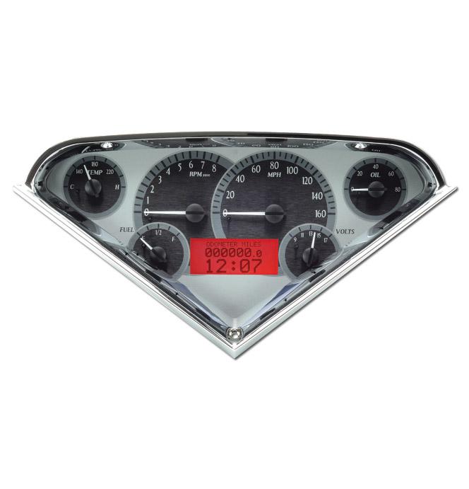 (1955-59) VHX Speedo & Gauge Kit - Silver Alloy w/Red Display
