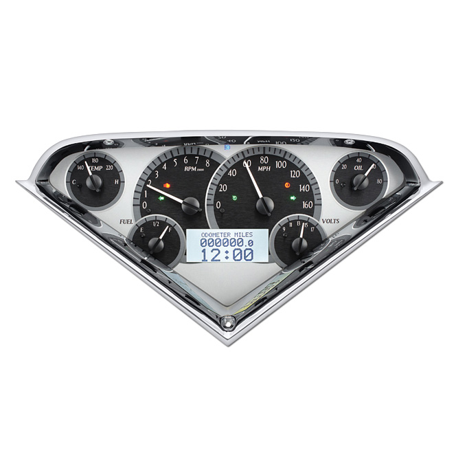 (1955-59) VHX Speedo & Gauge Kit - Silver Alloy w/White Display