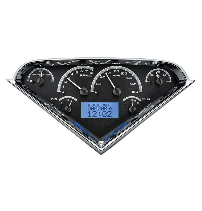 (1955-59) VHX Speedo & Gauge Kit - Black Alloy w/Blue Display