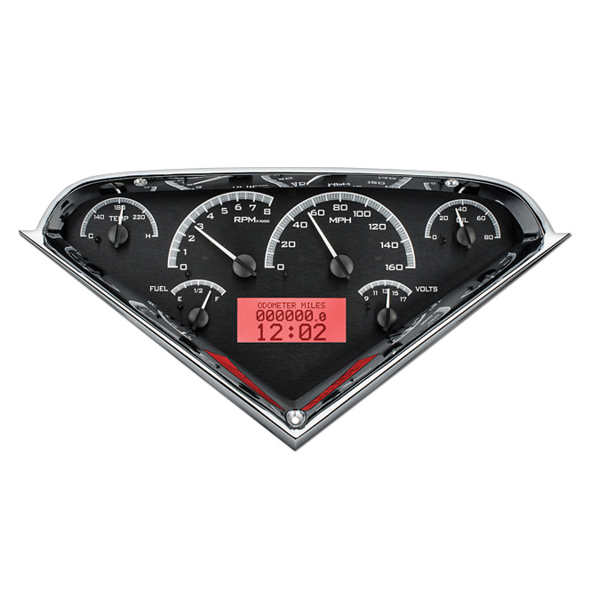 (1955-59) VHX Speedo & Gauge Kit - Black Alloy w/Red Display