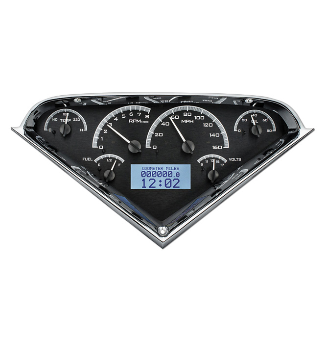 (1955-59) VHX Speedo & Gauge Kit - Black Alloy w/White Display