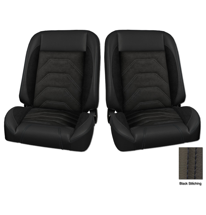 (1947-87) * Pro-Classic Low Back Bucket Seat - Sport-S - Black - pr