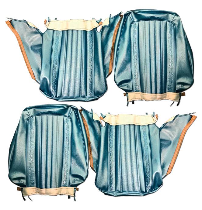 (1971-72)  Seat Kit-Bucket w/Scroll, Blue