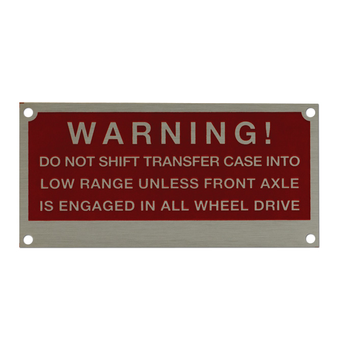 (1955-59)  Napco Metal Dash Plate Warning