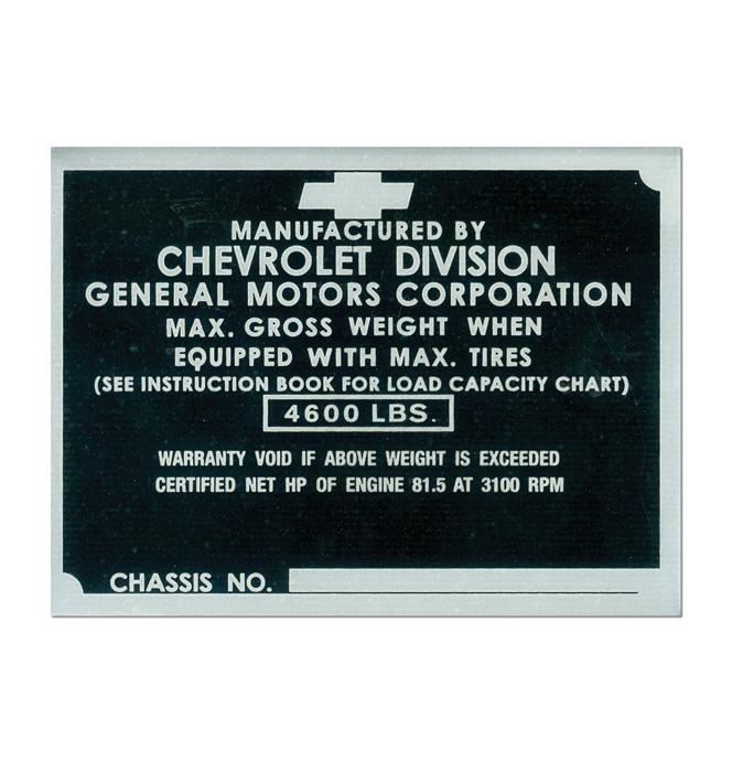 (1942-46)  Door Post ID Plate - Chevrolet