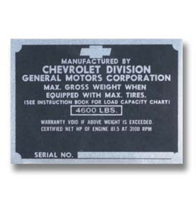 (1947-49)  Door Post ID Plate - Chevrolet